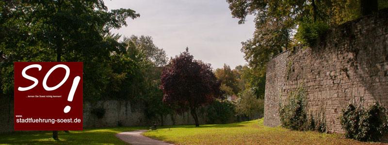 """Der Wall in Soest. Damit es Soest nicht so erging, wie """"Ostfalen"""" wurde die Stadt massiv befestigt und war praktisch uneinnehmbar."""