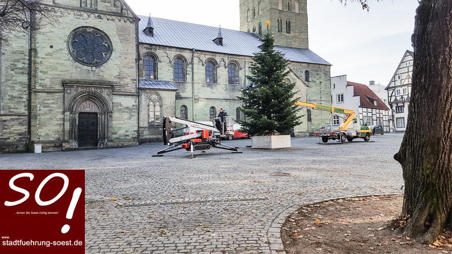 Der Weihnachtsbaum am Petrikirchplatz in Soest wird geschmückt. ©Werner Tigges